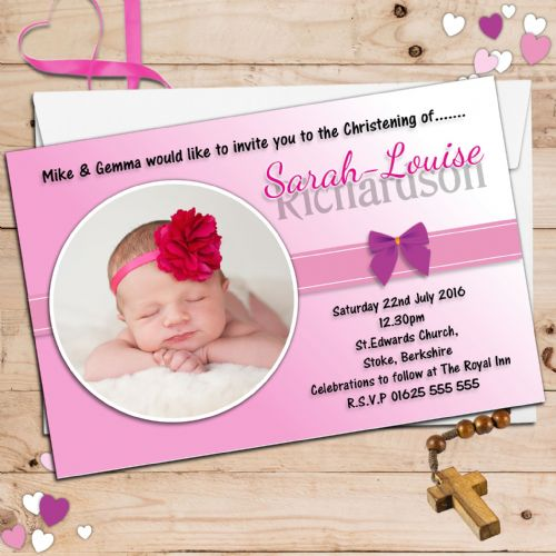 10 Personalised Girls Christening Baptism Invitations PHOTO Invites N47